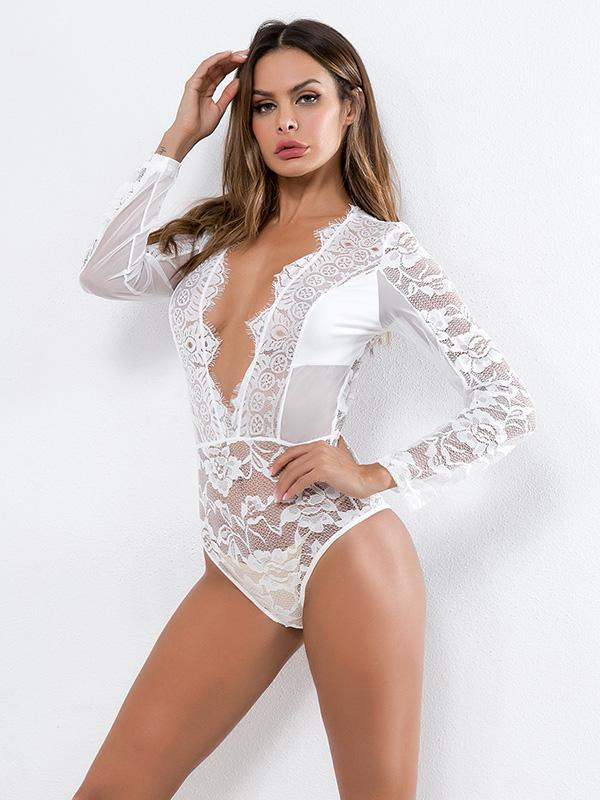 See-through Lace Long Sleeves Lingerie
