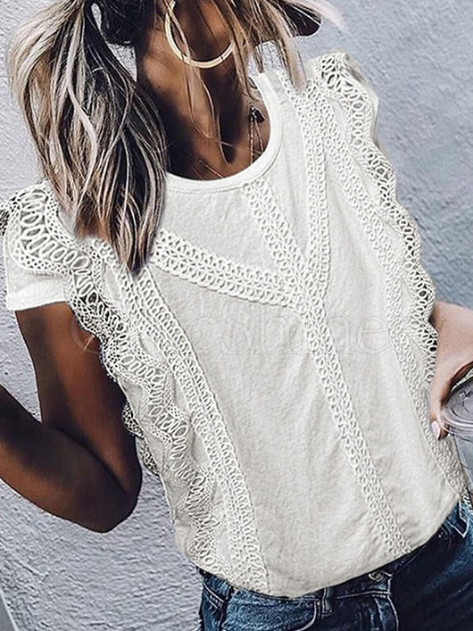 Solid Round-neck Short Sleeves Lacy T-shirt