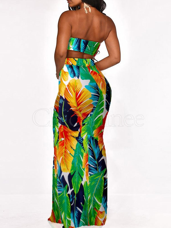 Crop Tops And Printed Long Skirt Two-piece Suits