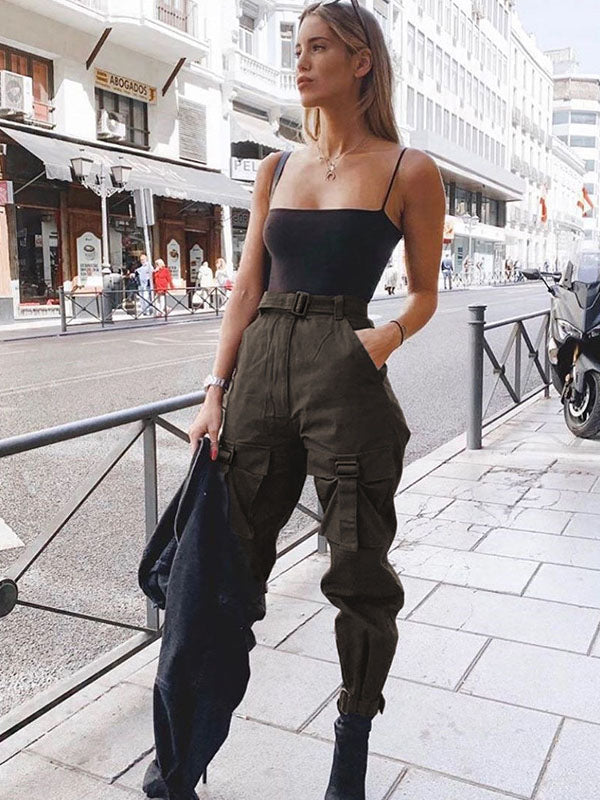 Fashion Ruffled Belted Cropped Pants