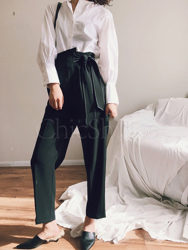 Lace-up Empire Comfortable Pants