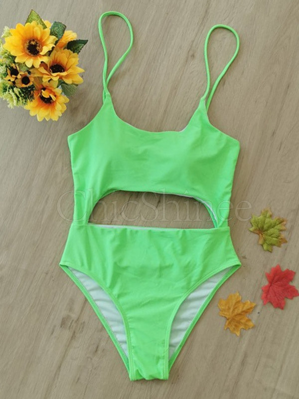 Sexy Sling Hollow  Bandage One-Piece Swimwear