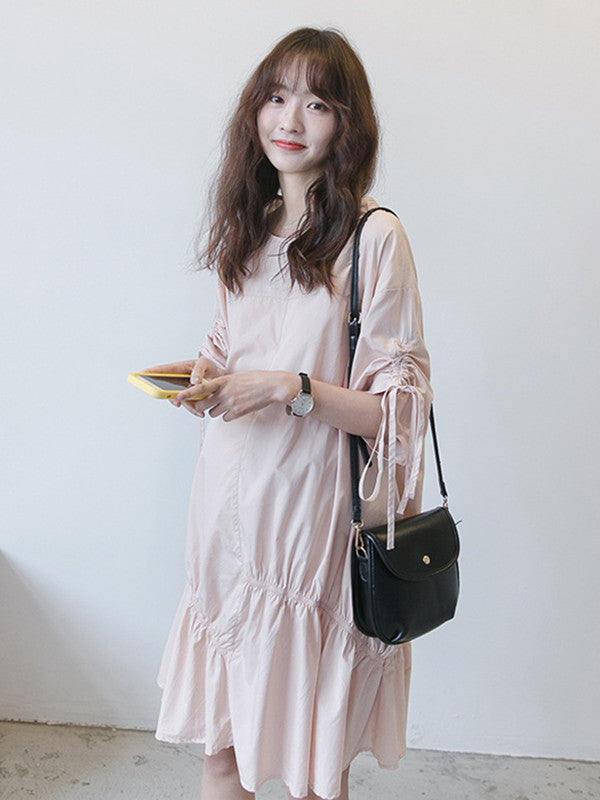 Maternity Solid Half Sleeves Round-neck Midi Dress