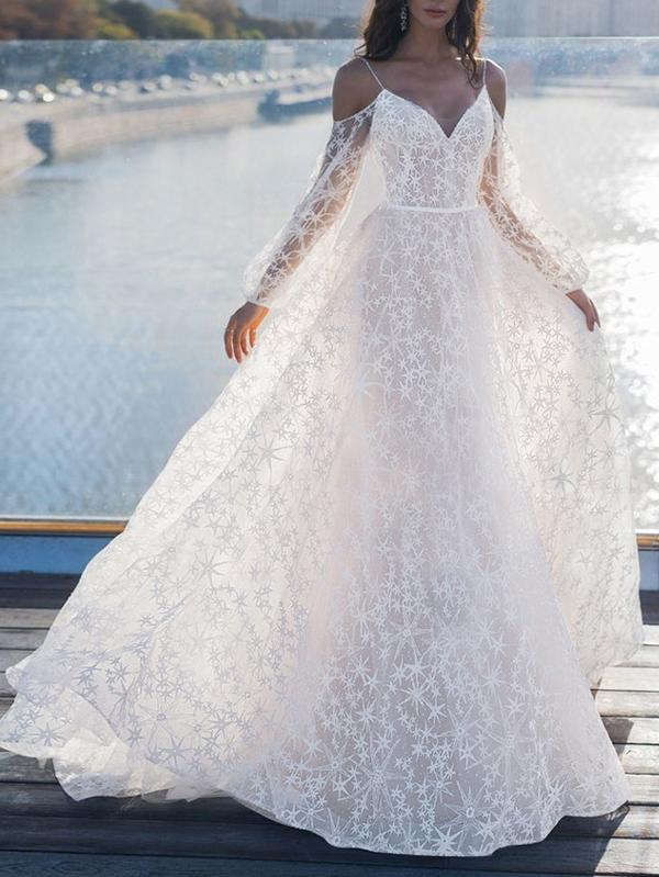 See-through Off-the-shoulder Boho Wedding Dress