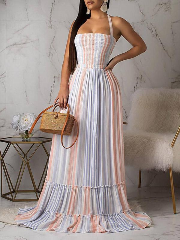 Fashion Hollow Blue&Pink Maxi Dress