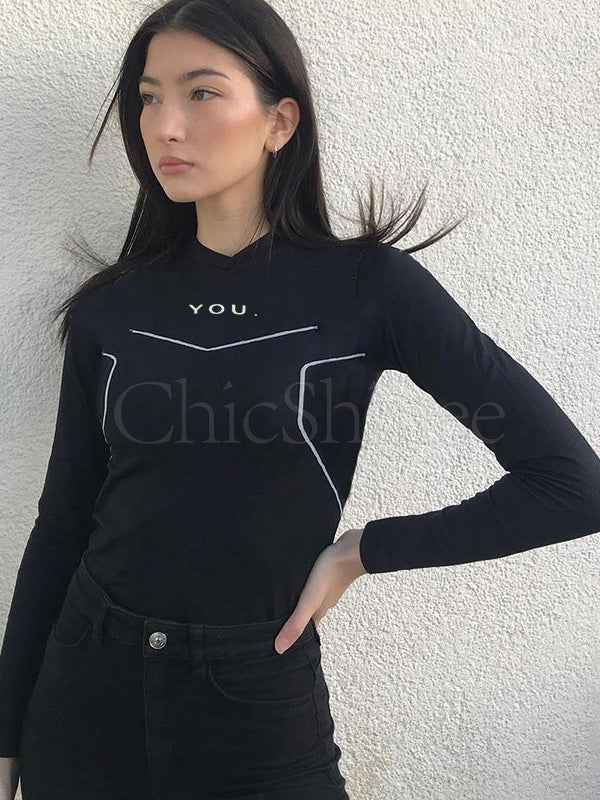 Letter Printed Long Sleeves Yoga Tee