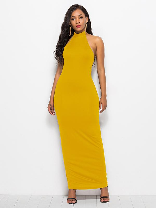 Fashion 2 Colors Simple Sexy Maxi Dress