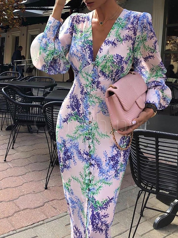 Long Sleeve V-neck Printed Midi Dress
