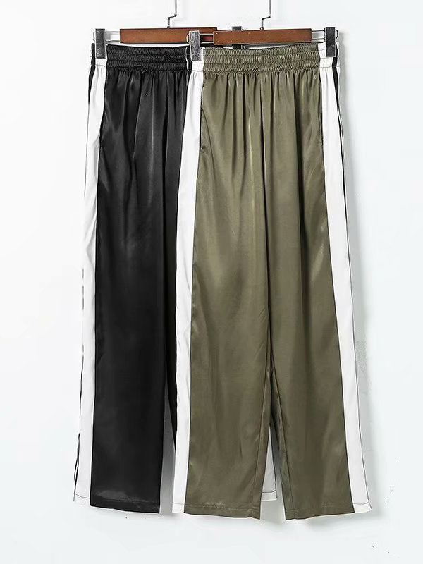 Solid Split-side Wide Leg Casual Bottom