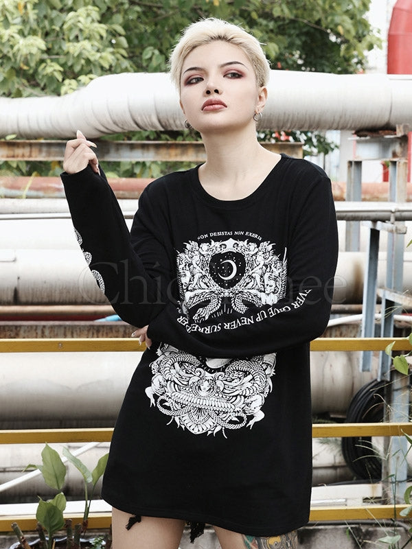 Lazy Style Hip Hop Printed Long-sleeved T-shirt