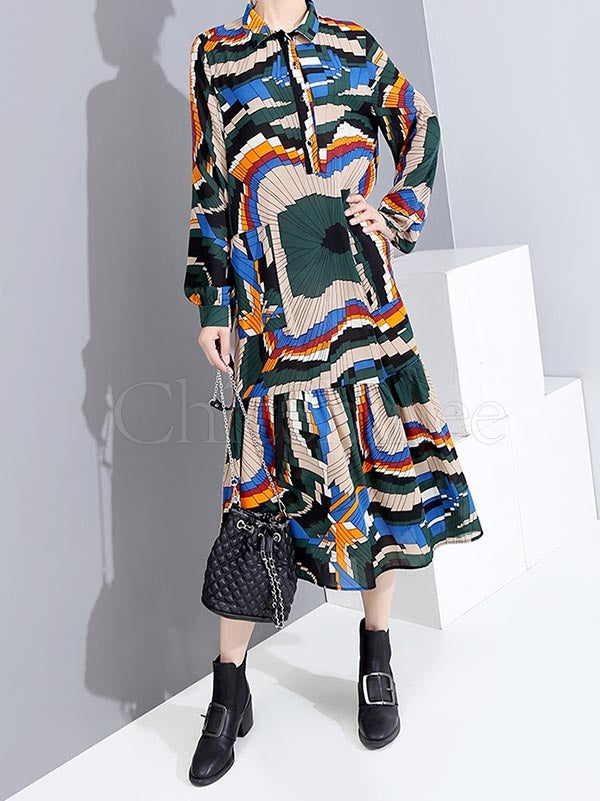 Bandage Printed Lapel Midi Dress