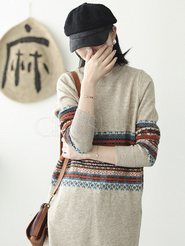 Retro Stitching Striped Round-Neck Long Sweater