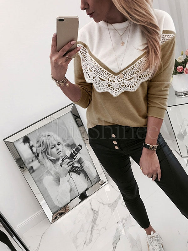 Lace Round-Neck Split-Joint Shirt