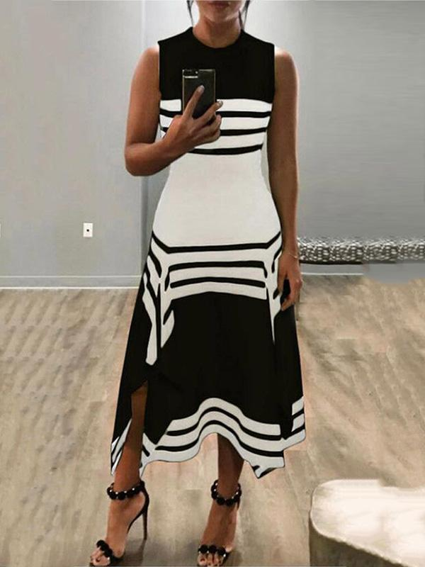 Fashion Striped 4 Colors Maxi Dress