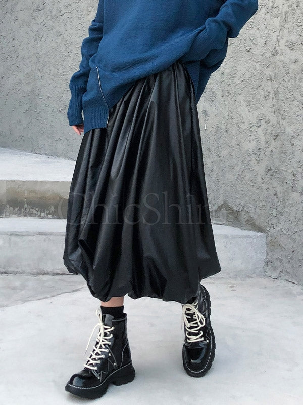 Glossy Pleated Empire A-Line PU Skirt