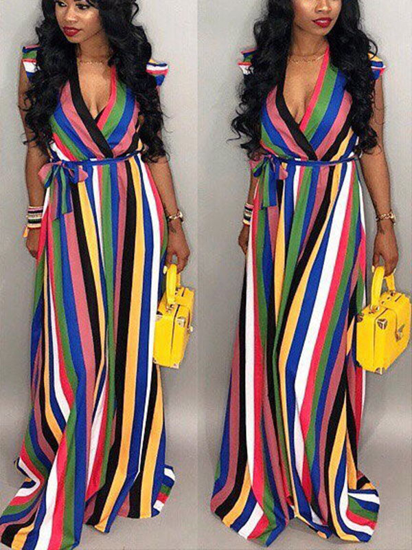 Frilled Sleeveless Rainbow Striped Maxi Dress
