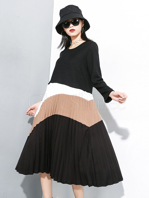 Knit Stitching Color Round Neck Midi Dress