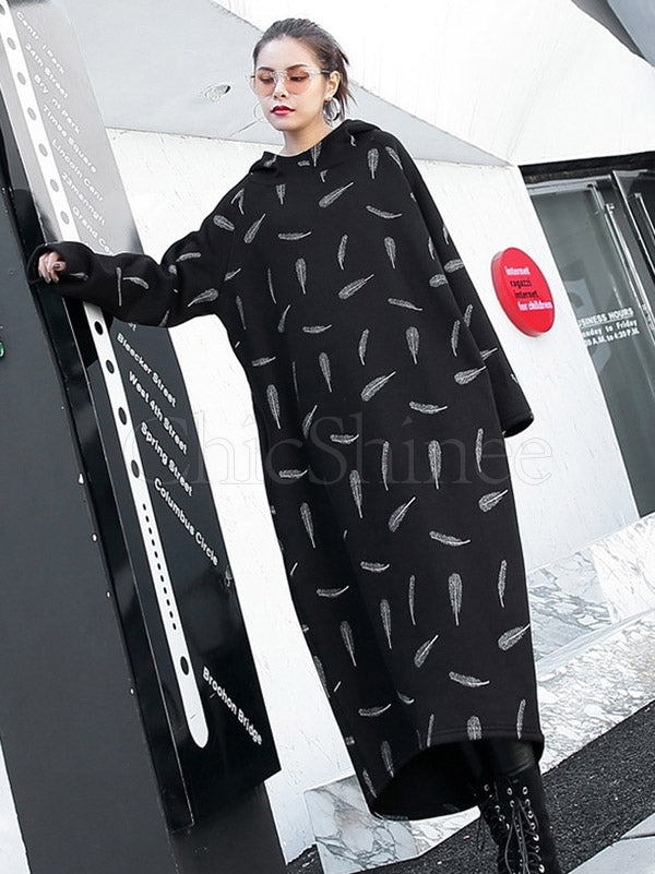 Feather Printed Thicken Hoodie Sweatshirt Dress