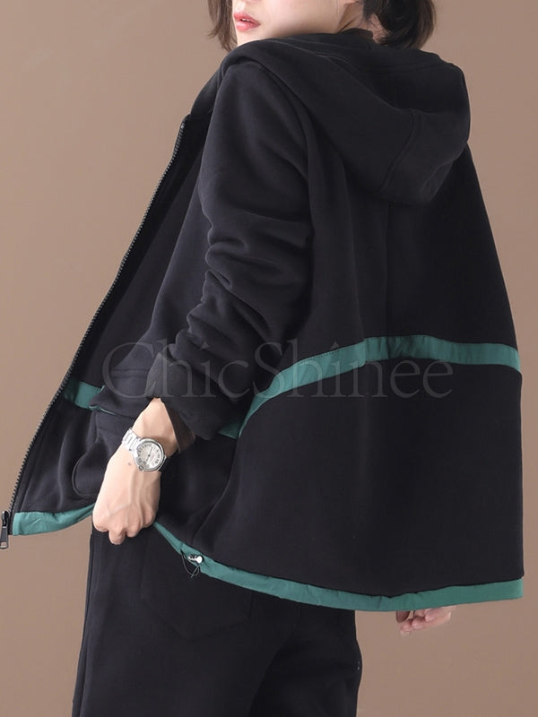 Loose Contrast Color Pocket Thickening Coat