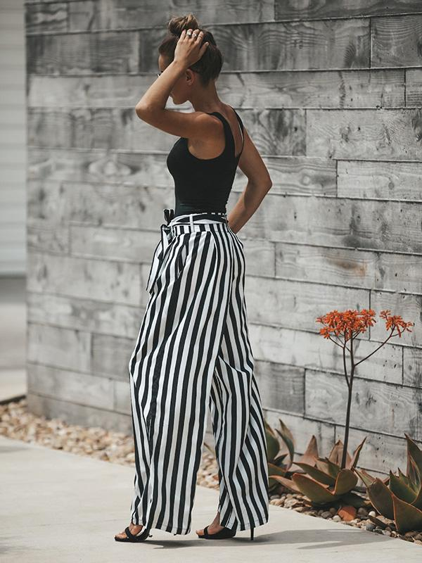 Simple Black White Stripes Bandage Wide-leg Pants