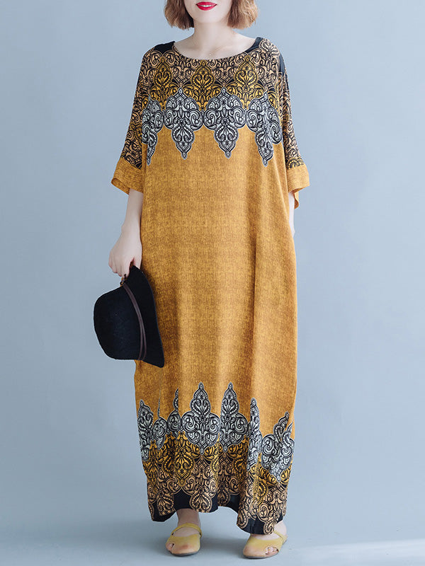 Casual Floral Printed Round-neck Maxi Dress