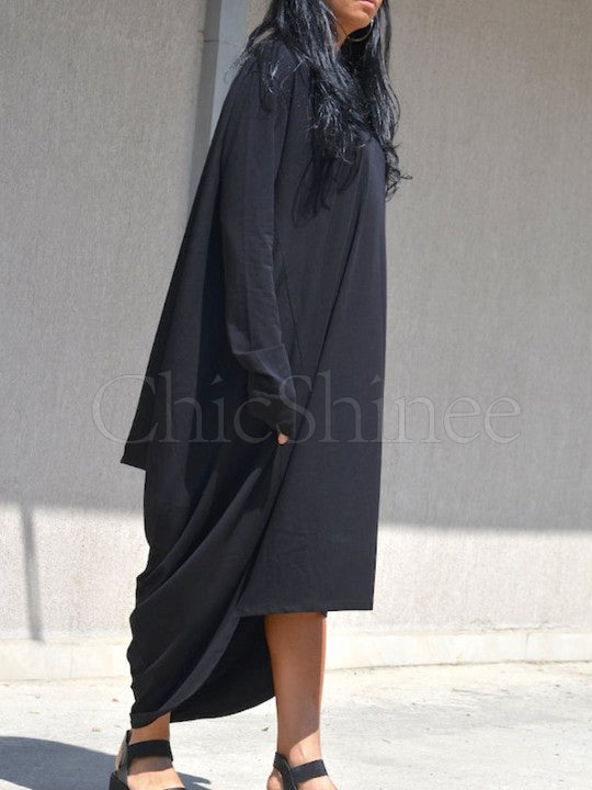 Black Ruffled High-low Long Sleeves Dress