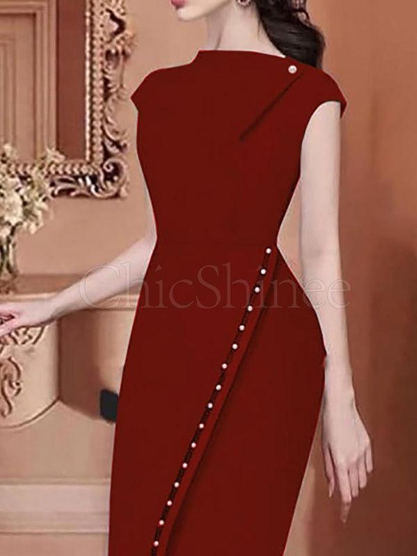 Fashion 2 Colors Solid Bodycon Midi Dress