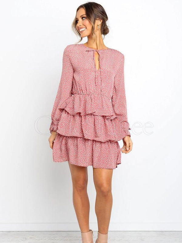 Polka-dot Long Sleeve Ruffle Mini Dress