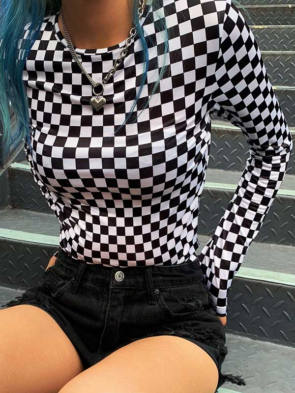 Fashion Square Plaid Sleeves T-shirt