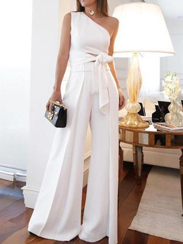 Fashion White Long Jumpsuits