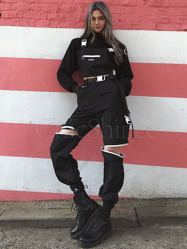 Cropped Zipper Opening Sports Overall Pants