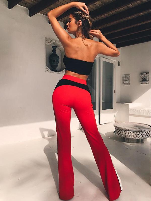 Split Patchwork Flared High Waist Trousers