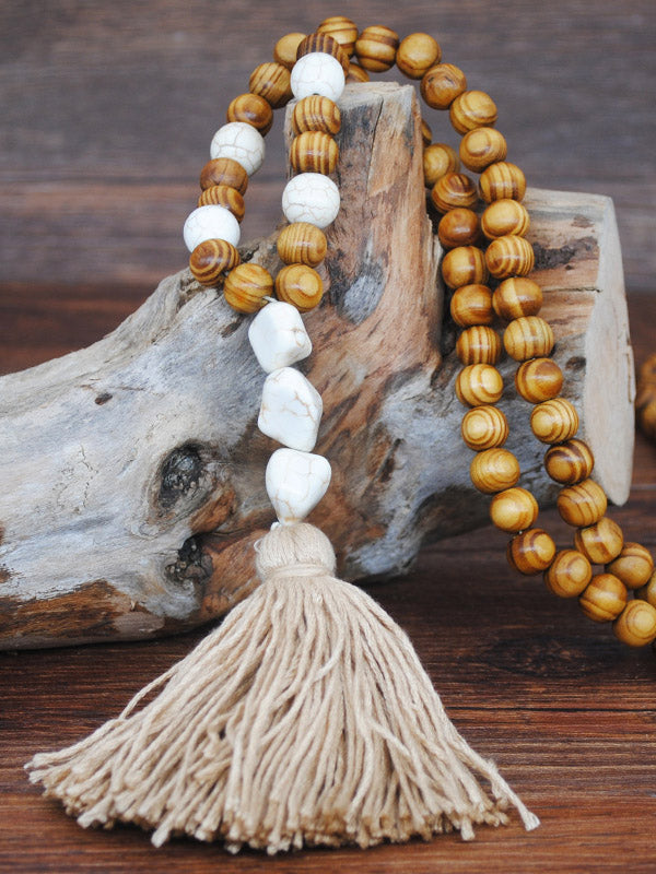 Vintage Handmade String Wooden Beads Tassel Necklace Accessories