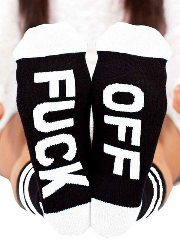 Letter Striped Deodorant Mid-calf Length Socks