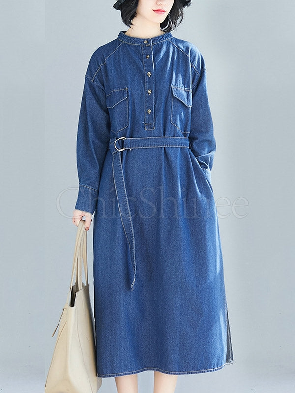 Blue Loose Belt Jean Midi Dress