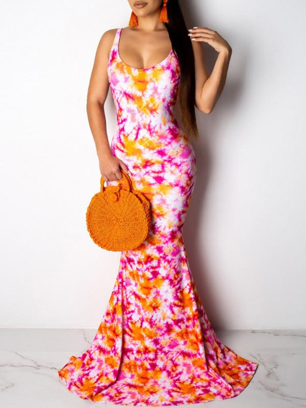 Fashion Backless Printed Sexy 2 Colors Maxi Dress