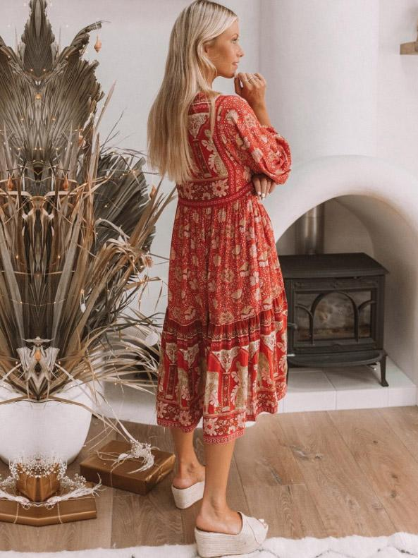 Printed Long Sleeves Lace-up Midi Dress