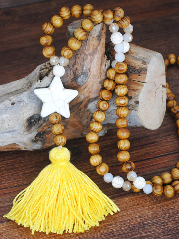 Multi-Colored Wooden Beads White Pine Tassel Necklace Accessories