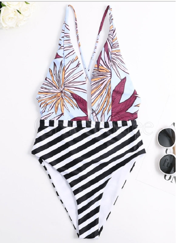 V-Neck Stripe Stitching Printing One-Piece Swimwear