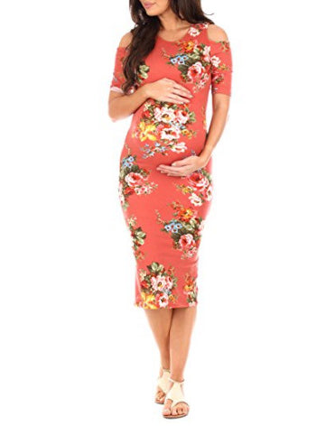 Maternity Printed Cold Shoulder Round-neck Midi Dress