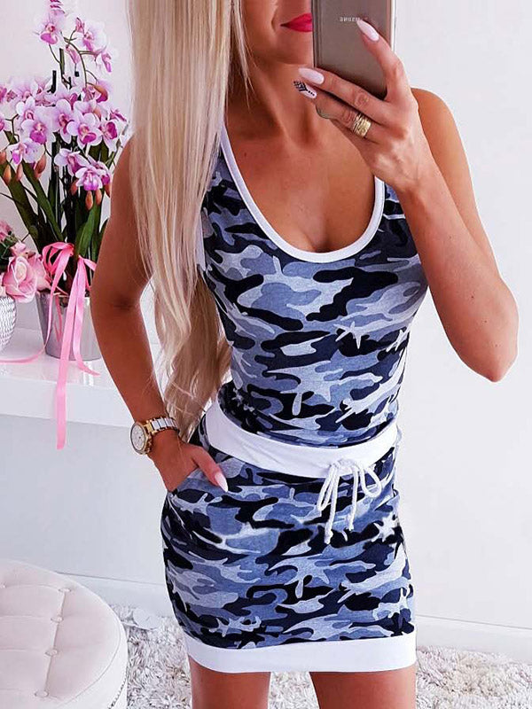 Simple Camouflage Pattern Mini Dress