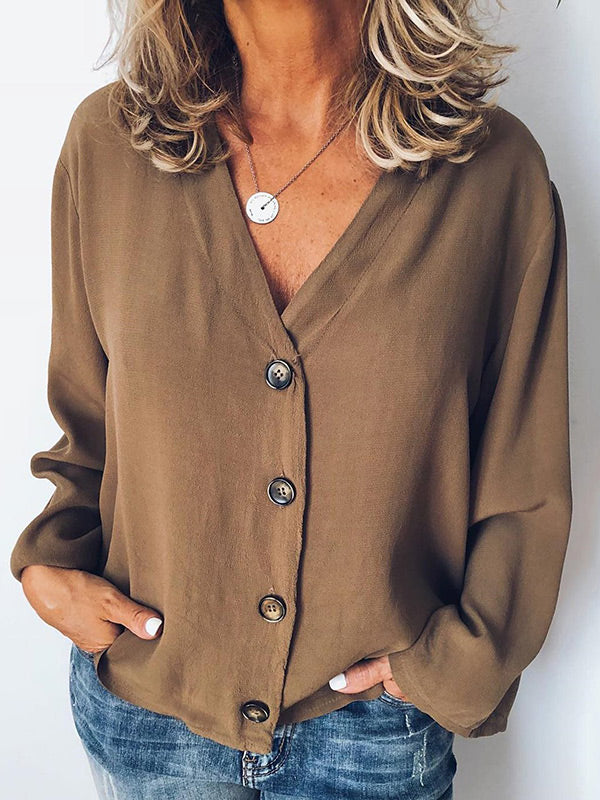 Casual V-neck Long Sleeve Chiffon Blouses&shirts Top