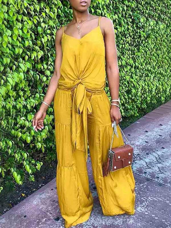 Solid Ruffled Spaghetti-neck Top And Bandage Bow-knot Flared Pants Suits