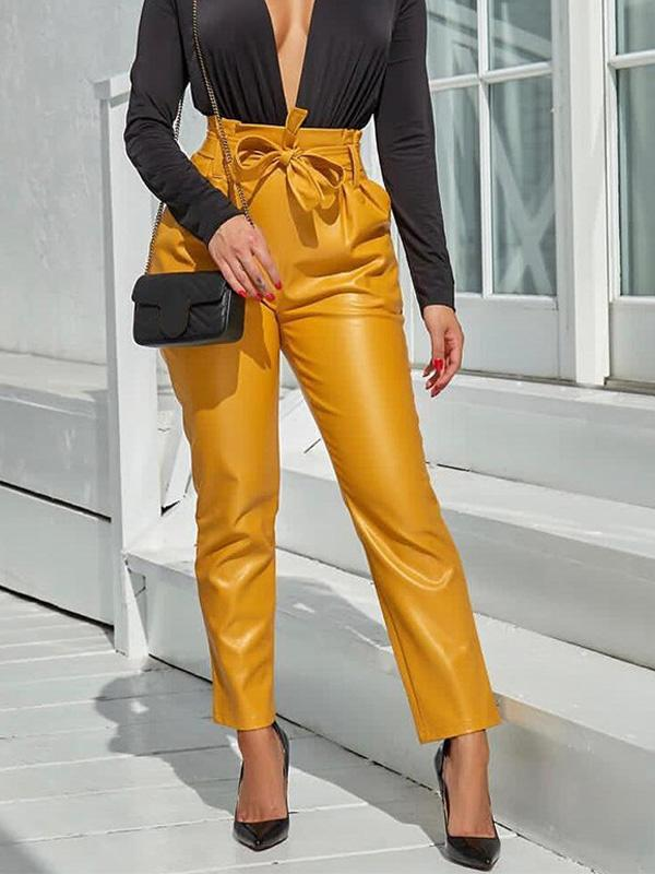 Fashion High Waist Belted PU Pants