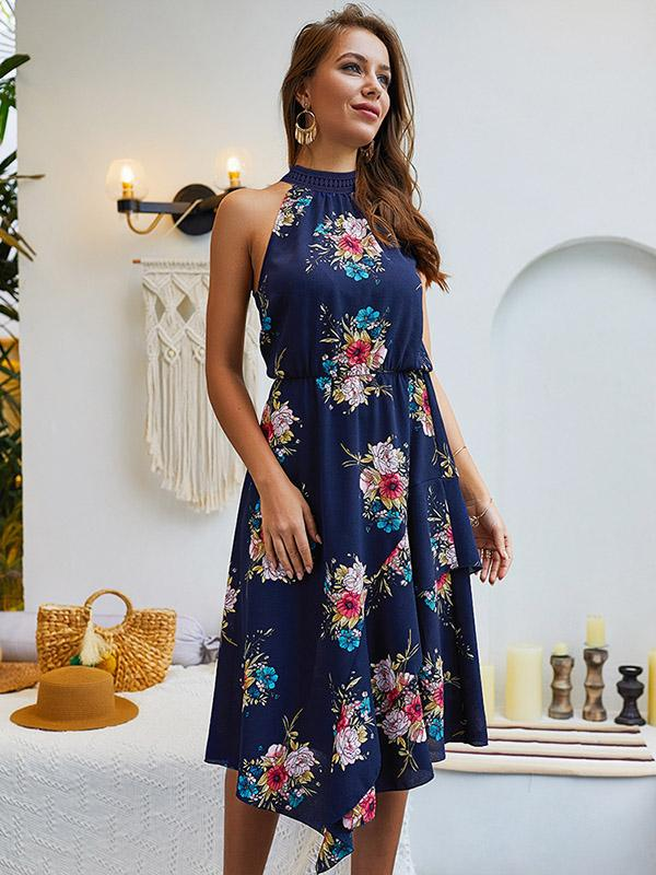 Sleeveless Printed Bohemia Midi Dress