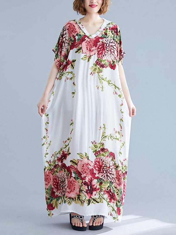Casual Floral Printed Long Dress