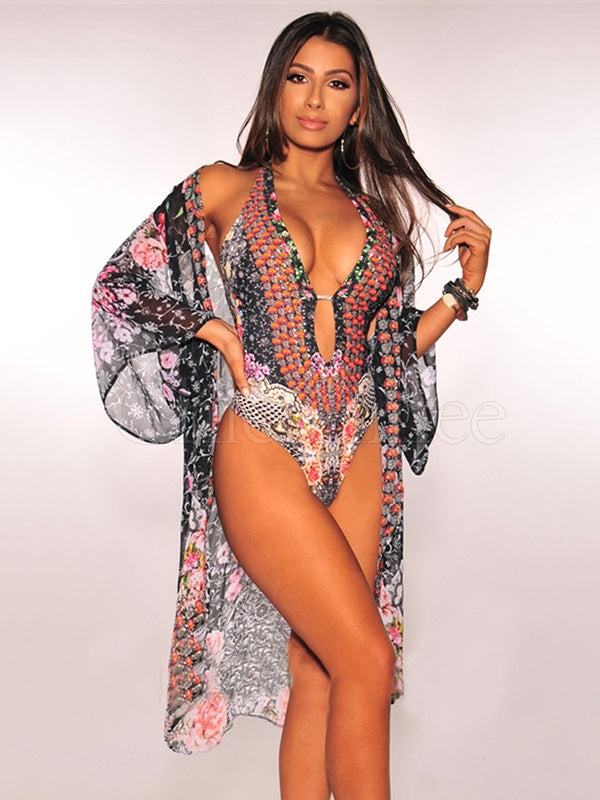 Floral Print One Piece Swimwear With Cover Up Suits