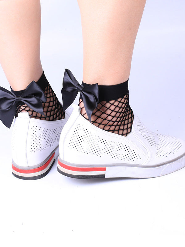Bowknot Fishnet Hollow Socks