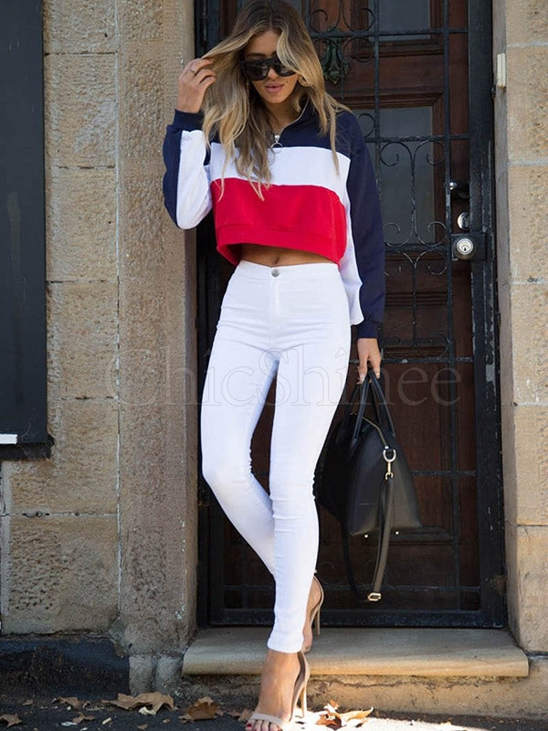 Split-joint Striped Zipper Bare Midriff Sports Sweatshirt