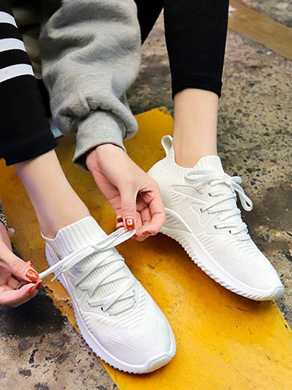 Lace Up Knitted Casual Sneakers